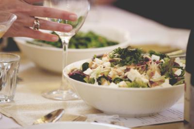 Green salad, pomegranate, feta, almonds